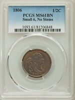 1806 HALF CENT 1/2 C SMALL 6, NO STEMS, C-1, B-3, R.1, MINT STATE 61 BROWN PCGS  COIN