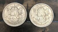 1955 CANADA SILVER HALF DOLLAR 50 CENTS   LOT OF 2 COINS