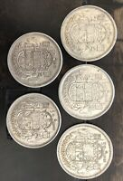 1956  CANADA  SILVER  HALF  DOLLAR  50 CENTS   LOT OF 5 COIN
