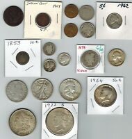 19 US OLD COINS CENTS NICKELS DIMES QUARTERS HALF D & DOLLAR