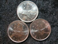 3 OLD WORLD COIN LOT CANADA 25 CENTS QUARTER 1991 KM184