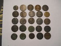 25 COLONIAL ERA COINS. COLONIAL POCKET CHANGE.
