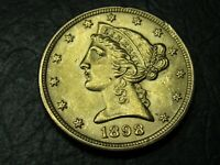 1898 $5 GOLD LIBERTY HALF EAGLE US GOLD COIN BRILLIANT C16