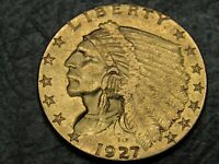 1927 INDIAN $2.50 GOLD QUARTER EAGLE AMAZING TOP QUALITY  CO