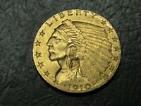 1910 INDIAN $2.50 GOLD QUARTER EAGLE AMAZING TOP QUALITY  CO