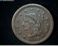 1851 LARGE CENT PENNY BRAIDED HAIR J584