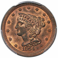 1854 BRAIDED HAIR HALF CENT, C-1, PCGS MINT STATE 64RB CAC