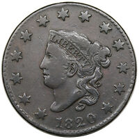 1820 CORONET HEAD LARGE CENT, SMALL DATE,  N-6, R.4, F-VF