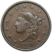 1834 CORONET HEAD LARGE CENT, LARGE 8, SMALL STARS, MEDIUM LETTERS, N-4,  VF