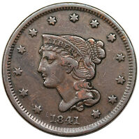 1841 BRAIDED HAIR LARGE CENT, N-5, VF