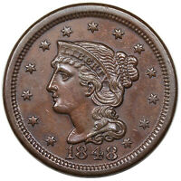 1848 BRAIDED HAIR LARGE CENT, N-21, R.3, AU, EX GRELLMAN