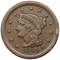 1849 BRAIDED HAIR LARGE CENT, N-2, TDS GG, F