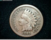 1863 COPPER NICKEL INDIAN HEAD SMALL CENT PENNY J592