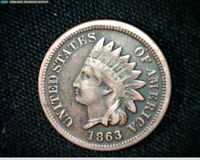 1863 COPPER NICKEL INDIAN HEAD SMALL CENT PENNY J596