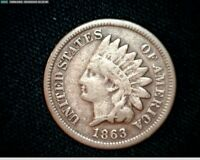 1863 COPPER NICKEL INDIAN HEAD SMALL CENT PENNY J597