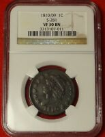 1810/09 1C NGC VF30 OVERDATE CLASSIC HEAD LARGE CENT VARIETY S-281 EARLY COPPER