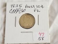 1835 US SILVER CAPPED BUST DIME EXTRA FINE