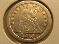 EXTRA FINE  1845-O SEATED DIME  ONLY 230,000 MADE  VFC