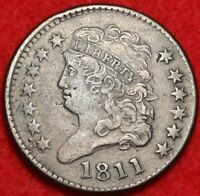 1811 CLASSIC HEAD HALF CENT KEY DATE CHOICE FINE 1/2C