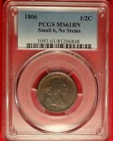 1806 1/2C PCGS MINT STATE 61 C-1 NO STEMS CHOICE UNCIRCULATED DRAPED HALF CENT TYPE COIN