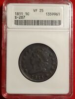 1811 1C ANACS VF25 CHOICE  FINE BETTER DATE CLASSIC HEAD LARGE CENT S-287