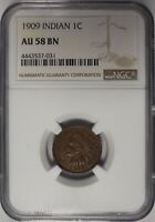 1909 1C INDIAN PENNY NGC AU 58 BN