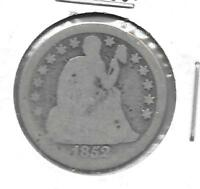 US SEATED LIBERTY DIME, 10-CENT PIECE, MINTED IN 1852 1