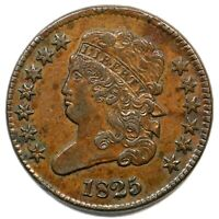 1825 C-2 DBL STRUCK CLASSIC HEAD HALF CENT COIN 1/2C