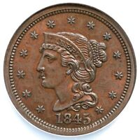 1845 N-1 R-4 NCS UNC DETAILS BRAIDED HAIR LARGE CENT COIN 1C