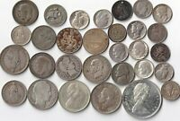 LOT OF 30 ALL SILVER   1800 1900'S  UNSORTED US &  FOREIGN C