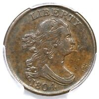 1804 C-8 PCGS EXTRA FINE  45 SPIKED CHIN DRAPED BUST HALF CENT COIN 1/2C