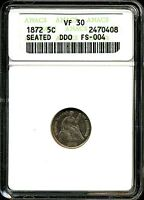 1872 H10C SEATED LIBERTY HALF DIME DOUBLED DIE OBVERSE FS-004 VF30 ANACS 2470408