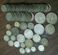 LOT OF 76 SILVER WORLD COINS FOREIGN COLLECTION