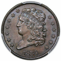 1834 CLASSIC HEAD HALF CENT, C-1, PCGS MINT STATE 65BN CAC