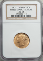 DOURO SHIPWRECK  GREAT BRITAIN GOLD SOVEREIGN 1871 SHIELD NGC AU53