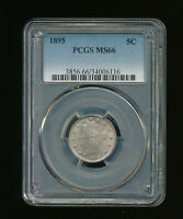 1895-P LIBERTY NICKEL V-NICKEL 5C PCGS MINT STATE 66 TYPE 2 WITH