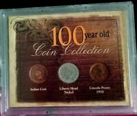100 YEAR OLD COIN COLLECTION INDIAN CENT, LIBERTY NICKEL, LINCOLN CENT