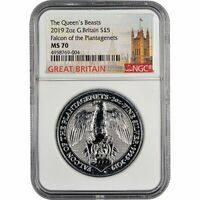 2019 UK QUEEN'S BEASTS 2 OZ SILVER COIN FALCON OF THE PLANTAGENETS NGC MS70