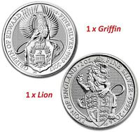 QUEEN'S BEAST 2 OZ SILVER BULLION COINS: 1 X LION   1 X GRIFFIN IN CAPSULE  2PC
