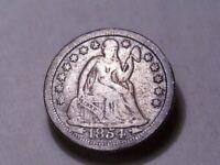1854-O SEATED DIME 2 ARROWS  BEAUTIFUL DETAIL MOMS ESTATE  EXTRA FINE  COIN 1229