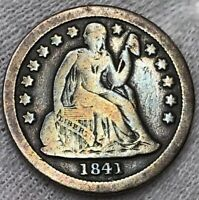 1841 SEATED LIBERTY DIME FULL LIBERTY   TONING FROM DANSCO BOOK