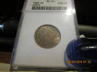 1883 W/CENTS ANACS LIBERTY HEAD NICKEL MINT STATE 65