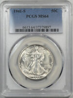 1944-S WALKING LIBERTY HALF DOLLAR PCGS MINT STATE 64 MISLABLED BY PCGS AS 1941-S