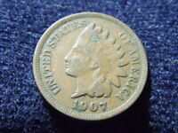 1907 INDIAN HEAD CENT PENNY VG DETAILS,  SHIPS FREE A-18