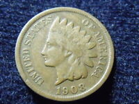 1908 S INDIAN HEAD CENT PENNY F DETAILS, R DATE SHIPS FREE L-55