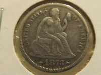EXTRA FINE  1873-S SEATED DIME  ONLY 455,000 MADE  MEE