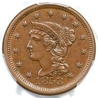 1853 N-12 PCGS MINT STATE 62 BN BRAIDED HAIR LARGE CENT COIN 1C