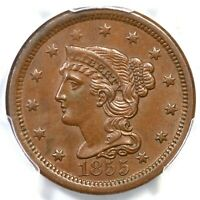 1855 N-2 R-2 PCGS MINT STATE 63 BN UPRIGHT 55 BRAIDED HAIR LARGE CENT COIN 1C