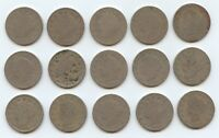 FIFTEEN 1893 LIBERTY NICKELS 5914 LOW GRADE COINS. READABLE DATES.