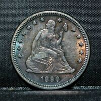 1890-P SEATED LIBERTY QUARTER  AU ALMOST UNC DETAILS  25C SILVER TRUSTED